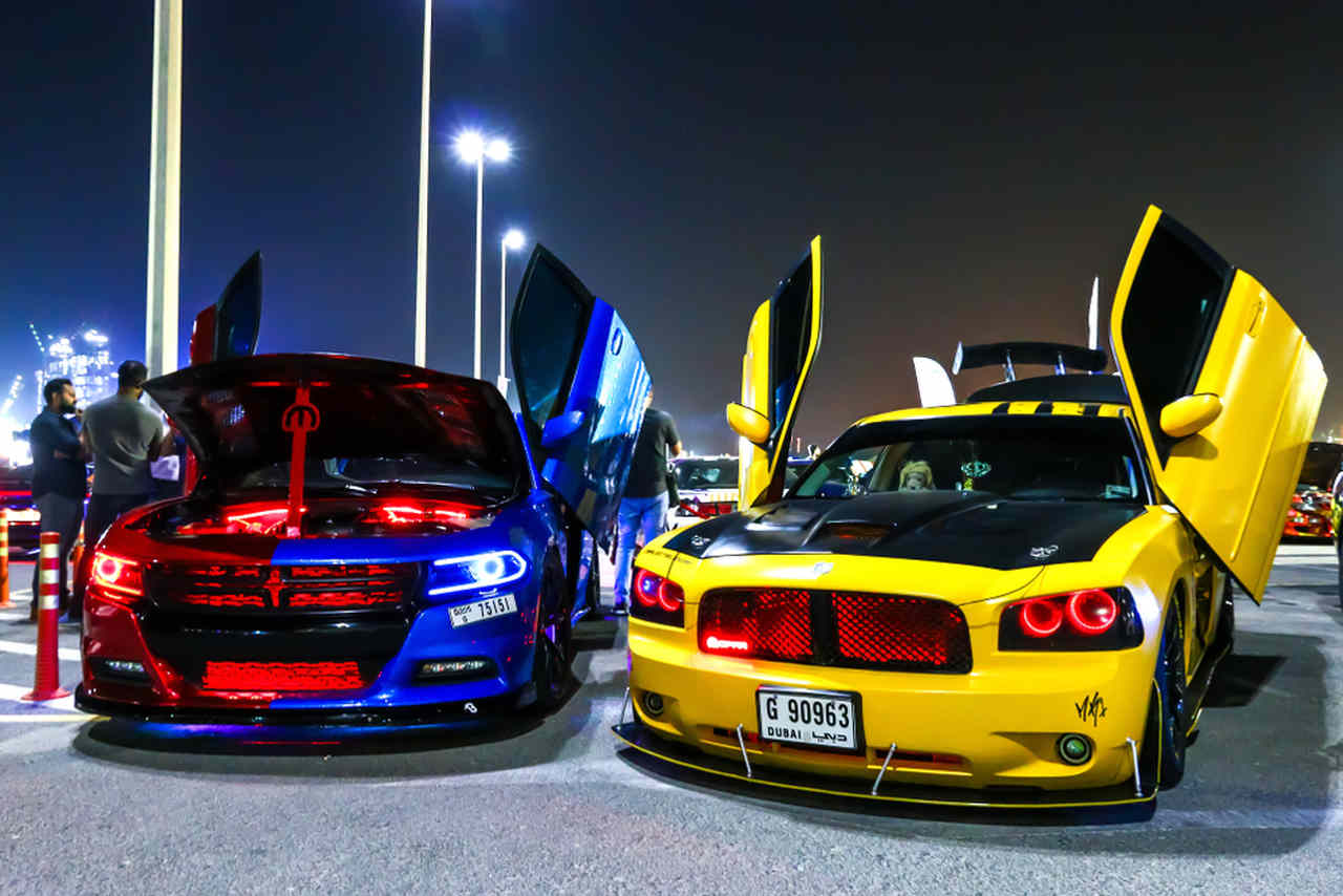 Tuned Dodge cars at an exhibition in Dubai, United Arab Emirates.